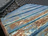 屋根葺き替え、施工前(瓦棒葺き)